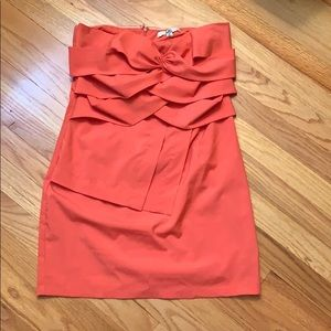 Coral Strapless Dress With Small Tear On Back